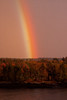 rainbow with fall foliage, Phippsburg Maine looking across Totman Cove from West Point