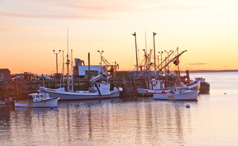historic wooden sardine carriers, Double Eagle in Rockland Harbor, Maine at sunrise. Built in 1929 in East Machias for the North Lubec Manufacturing and Canning Company