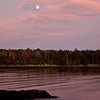 Full moon rising with pink sunset, Totman Cove, Small Point, Phippsburg, Maine scenic