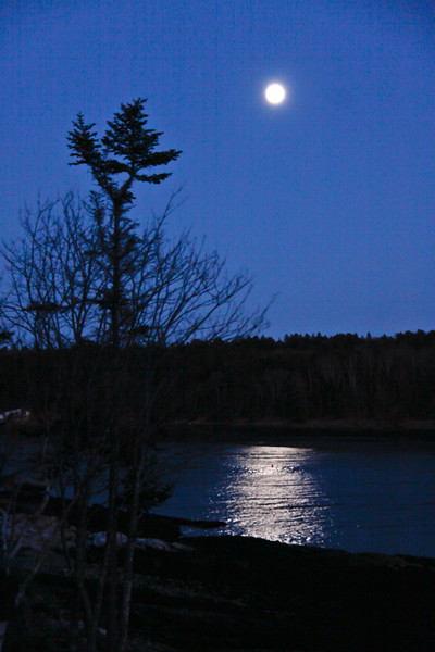 December, winter Full Moon, PHippsburg, Maine. The December full moon is called the Long Night Moon as it takes place around the longest nights of the year around the solstice