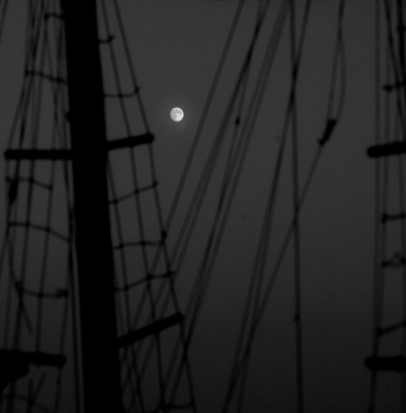 """Full moon rising through schooner rigging, Phippsburg, Maine<br /> For more of this type of image, see the """"Boats"""" and """"Marine and Nautical"""" galleries"""