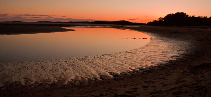 View just before rising of Super Moon, Popham Beach State Park, Phippsburg, Maine