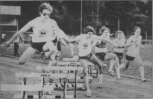 IHS Track - First Hurdle - Well out in front - and Ken Frost on the near hurdle