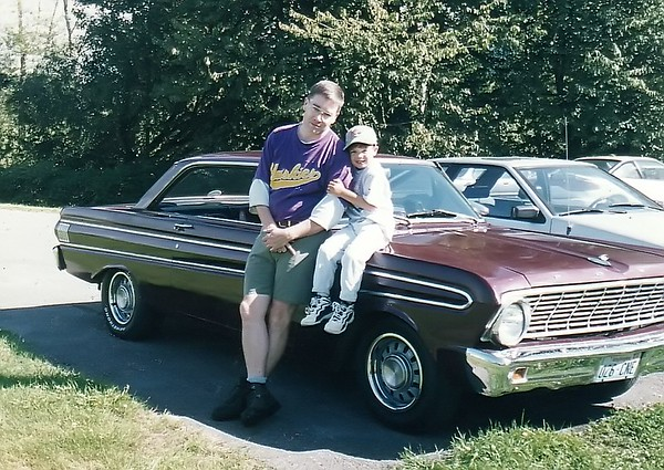 Me and Jake on 64 Ford Falcon Futura - North Bend Mountain Meadows Farm