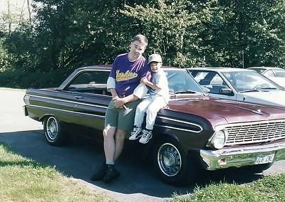 Me and Jake on 64 Ford Falcon Futura - North Bend Mountain Meadows Farm