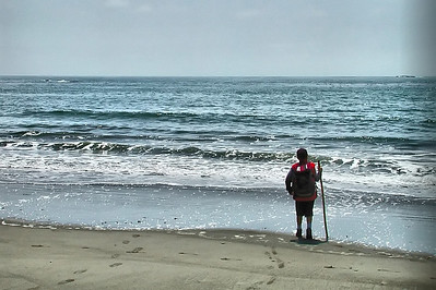 Jake and his Grand Dad hiking stick, looking out across the Pacific Ocean on the 3rd beach hike