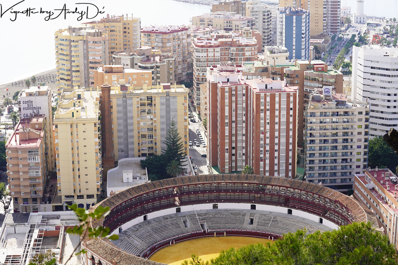 A Panoramic perspective of Malaga's skyline from the Castillo de Gibralfaro, especially the Bull Ring at the center, designed and built by José Ruiz y Blasco, Pablo Picasso's father. The bull ring hosts two bull fights each year, both dedicated to the memory of Malaga's celebrated prodigal son, Senor Pablo Picasso!
