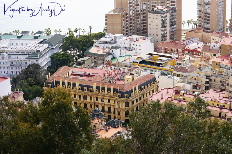 Bird's Eye View of the 'Palacios de Malaga',  a palace now transformed into one of Malaga's finest hotels, taken from the Castillo De Gibralfaro!