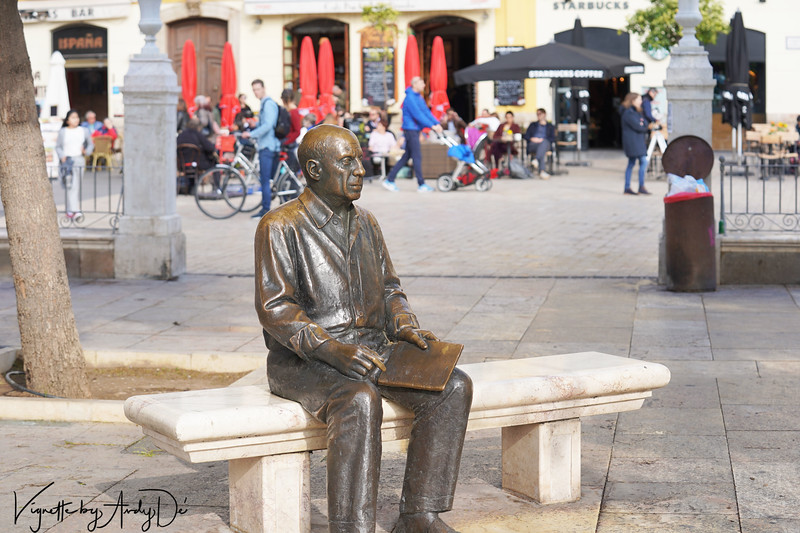 Senor Pablo Picasso relaxed on a bench outside his home in Malaga - he is Malaga's most celebrated prodigal son!