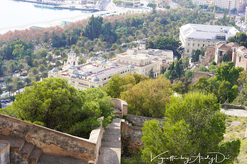 Bird's eye view of some of the Palaces in Malaga transformed into opulent hotels from the Castillo de Gibralfaro!