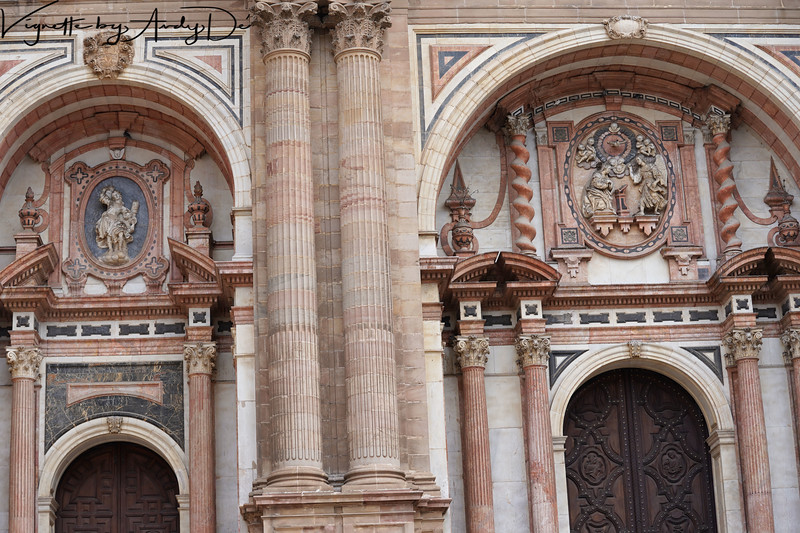 Ornate sculptures embellishing the Cathedral of Malaga!