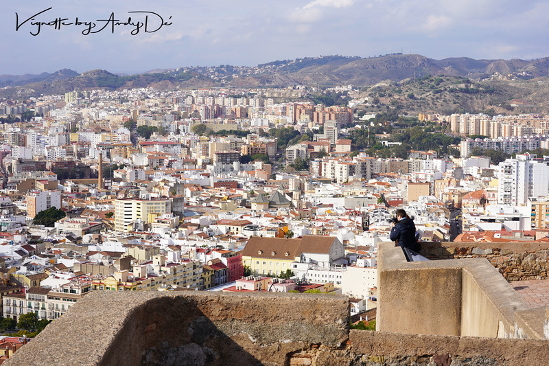 Bird's Eye view of the Malaga skyline from the apex of the Castillo de Gibralfaro!