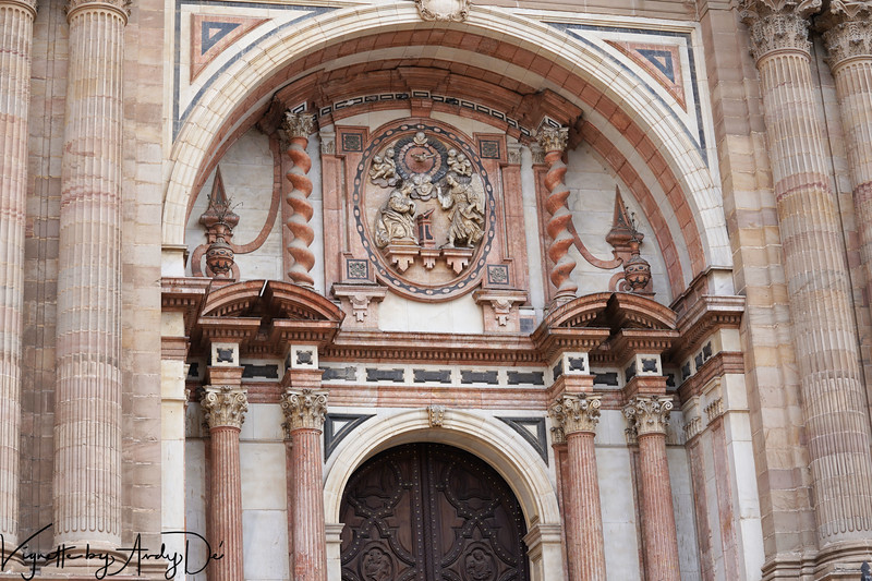 Ornate sculptures embellishing the portal of the Cathedral of Malaga!