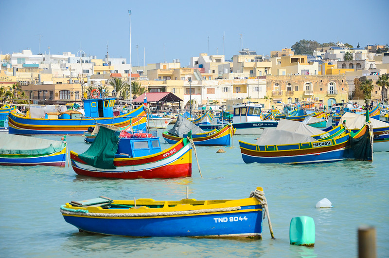 Boats on Marsaxlokk Bay<br /> Marsaxlokk Fishing Village