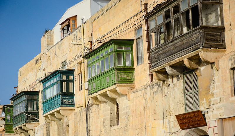 Shades of Green Oriel Windows<br /> Valletta Waterfront