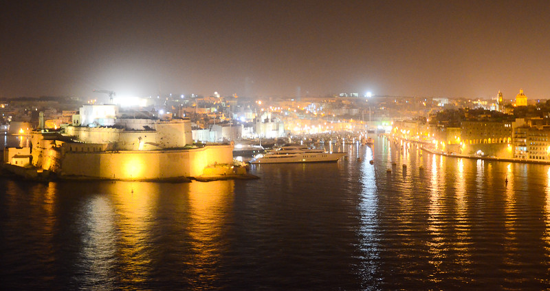 Night View of the Grand Harbour and The Three Cities <br /> Vittoriosa, Senglea and Cospicua