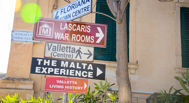The Malta Experience<br /> Valletta Tourist Signs