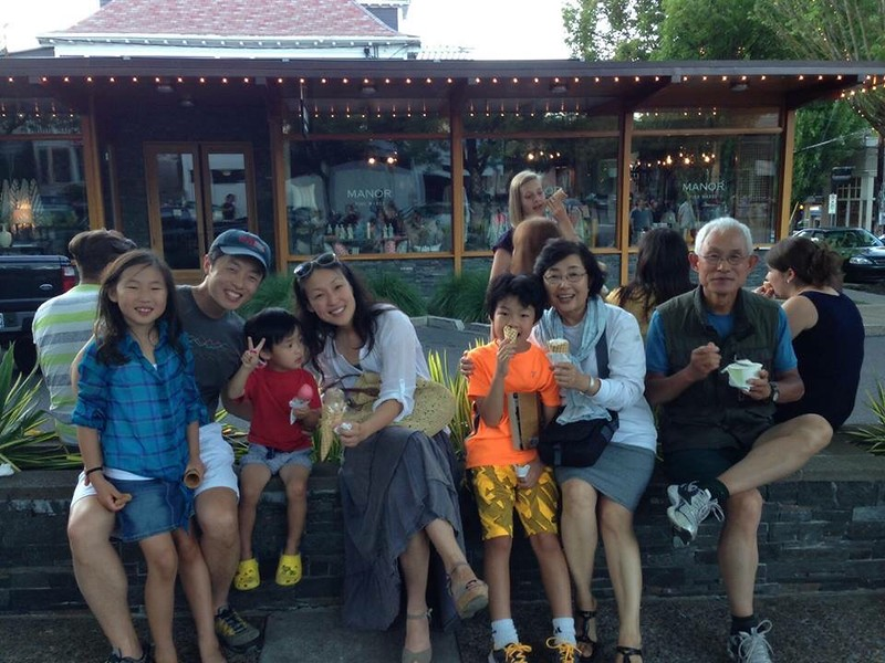 Susie Jung, Mike, Oliver, Soe, and Nicolas Lim with Grandparents