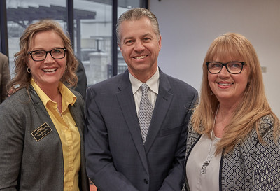MAOSC Board President Tina Rennemo, League of Minnesota Cities Executive Director David Unmacht, and MAOSC Executive Director Jill Sletten.