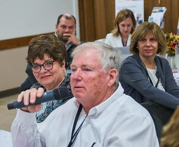 Medford Mayor Lois Nelson listens (left) as Blooming Prairie City Administrator Michael Jones comments.