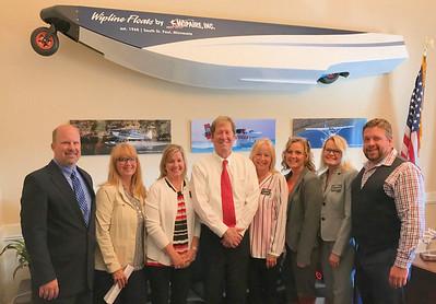 MAOSC Board members visit Congressman Jason Lewis (center). From left, John Douville, Executive Director Jill Sletten, Wendy Pederson, Lori Jorgenson, Tina Rennemo, Shannon Mortenson and Jon Smith.