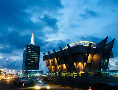 Civic_Centre_at_night,_Lagos_Nigeria