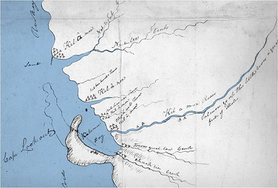 Indians working around the whale told Clark about villages to the south along today's Nehalem and Tillamook Bays. Clark drew this map based on their descriptions. The map clearly shows a major village at Kilches Point.