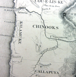 "Forty years after Lewis and Clark, map makers still referred to the area south of Astoria as Tillamook country. Newcomers had many ways of spelling ""Tillamook"" as in the case of ""Kilamuke"" on this map based on John Fremont's travels in the 1840s.."