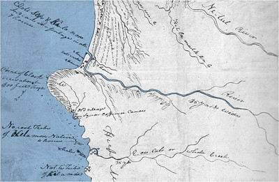 After hiking over Tillamook Head to buy whale oil from the Indians on the beach near today's Cannon Beach, Captain Clark drew this map of Indian villages. The map shows sites near today's Seaside that included both Tillamooks and Clatsops.