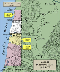 SILETZ RESERVATION 1875 - Twenty years after creating the reservation, the federal government had reduced its size by almost 80%.