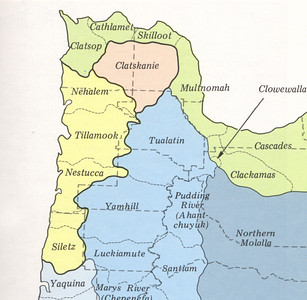Tillamook Indians spoke a Salish language, shown here in yellow.