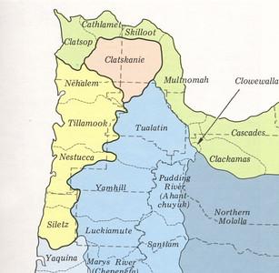 Tillamook Indians spoke a Salish language, shown here in yellow.