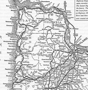 Throughout the 1920s business interests in Portland and along the coast lobbied for new roads. This 1930 map shows empty spaces now occupied by Highways 26 and 6. Highway 26, known as Wolf Creek route, won the competition for short route to the coast. Highway 6, the Wilson River Road, had been a wagon road in the 19th century. State officials upgraded the roadbed in the 1930s to allow salvage logging of the Tillamook Burn.