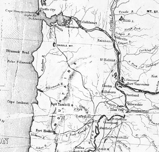 This map from 1859 shows the military road planned from Astoria into the Willamette Valley. At the north end, the road never made it past Saddle Mountain.