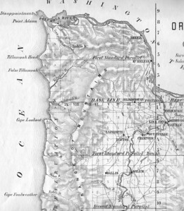 By 1855 maps showed more detail along the coast. Rivers, bays and headlands appear somewhat accurately -- although the Nehalem River estuary has not yet been explored.