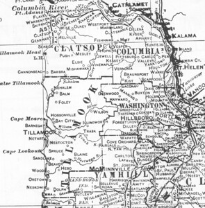 In 1900, map makers could draw county lines and locate logging camps. A road -- today's Miami/Foley Road -- reached from Tillamook into the Nehalem Valley. Nehalem is an established town, but Wheeler and Manzanita lie ten years in the future.