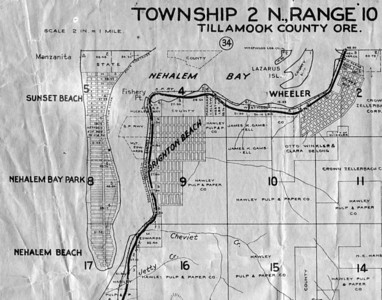 The five developments shown here were all filed with Tillamook County during the boom years 1909 to 1912. Boosters claimed Wheeler and Brighton would become important cities served by the railroad from Portland. Almost no one bought lots on Nehalem spit, today's Nehalem Bay State Park.
