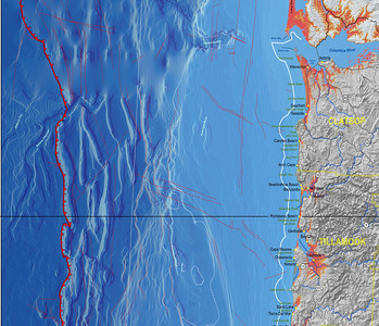 This recent map from the Oregon Dept of Geology and Mineral Industries shows subsurface fault lines and an outline of the continental shelf.
