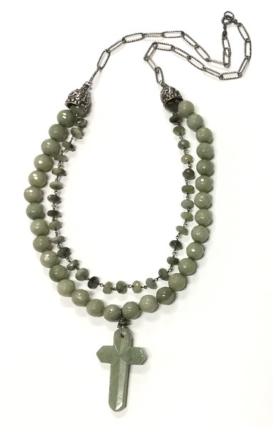 """7-JC-CE CO139  JADE CROSS ON GREEN AGATE BEADS AND CAT'S EYE ROSARY WITH STERLING CAPS  25.5"""""""