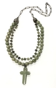 7-JC-CE CO139  JADE CROSS ON GREEN AGATE BEADS AND CAT'S EYE ROSARY WITH STERLING CAPS  25.5""