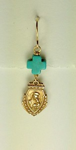 8-RM229-CTQ CO36 OUR LADY MEDAL WITH TURQ CROSS