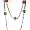 """7-RS-SCHN CO89   LONG SILVER CHAIN NECKLACE WITH RHINESTONES--36""""--GOOD FOR LAYERING--"""