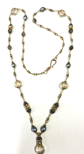 7-CZB-LAB CO115  ETCHED CZECH GLASS BEADS AND LABRADORITE ON AFRICAN HEISHI AND RHINESTONE SPACER BEADS  36""
