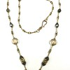 """7-CZB-LAB CO115  ETCHED CZECH GLASS BEADS AND LABRADORITE ON AFRICAN HEISHI AND RHINESTONE SPACER BEADS  36"""""""