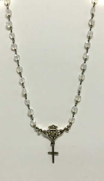 7618-MN CO70  STERLING FIXTURE WITH CROSS ON MOONSTONE ROSARY  16+2""