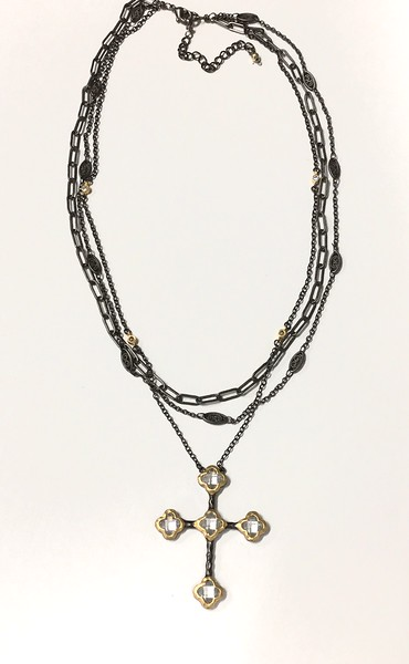 """7-3BLK-BC CO95  OUR SIGNATURE CRYSTAL CROSS ON 3 BLACK CHAINS  16 + 2"""""""