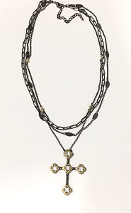 7-3BLK-BC CO95  OUR SIGNATURE CRYSTAL CROSS ON 3 BLACK CHAINS  16 + 2""