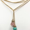 "7403-TQ OR 7403-RQ CO65  52"" LARIAT ON GOLD BOX CHAIN.  CAN BE BOTH TURQ OR BOTH ROSE QUARTZ OR ONE OF EACH.  RQ IS BEST SELLER"