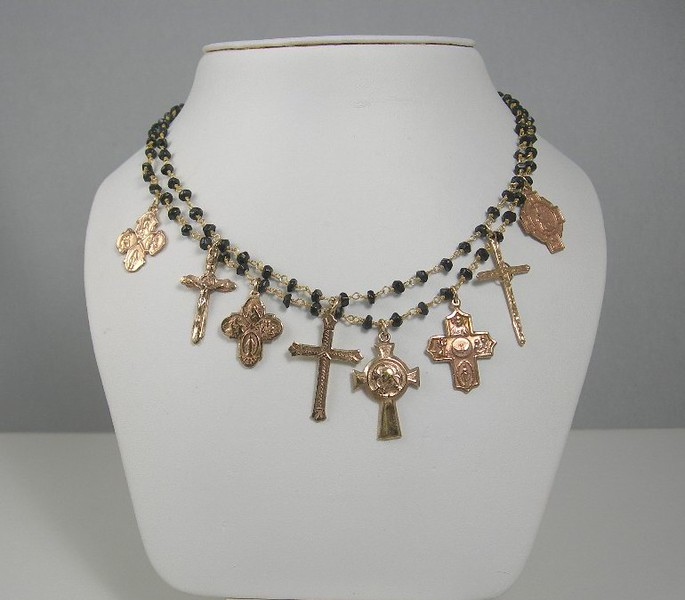 """7-8RM-ONYX CO129  2 STRAND ONYX ROSARY CHAIN WITH 8 BRONZE CROSSES  16"""" + 2"""" EXT"""