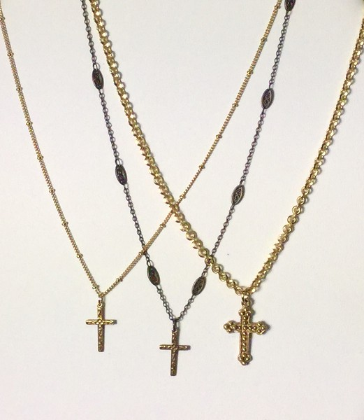 "FROM LEFT:  7-RM274-CHN CO33,  7-RM274-BCHN CO34,  7-RM250-CHN CO39  ALL 16 +2""  SIMPLE CROSSES ON PRETTY CHAINS.  CAN BE 32"" ALSO--ADD 10.00"